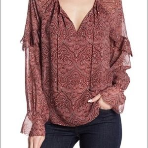 Joie | 'Agenta' 100% Silk Paisley Peasant Blouse